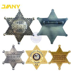 Personalized Custom Engraved Sliver Metal Plated Sheriff Lapel Pin Star Badges
