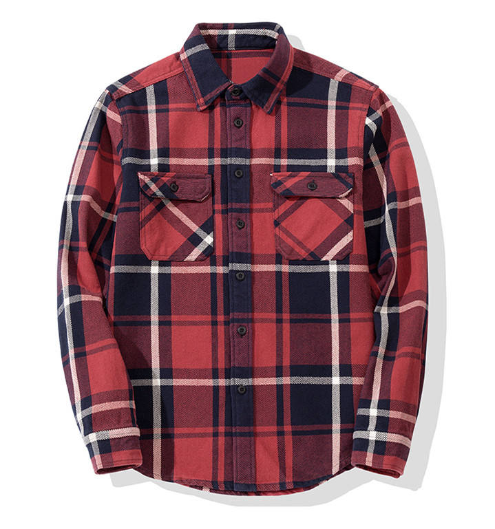Mens long sleeve two pockets regular fit plaid flannel casual shirt