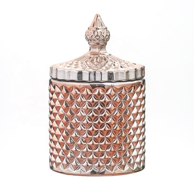2019 new style Rose gold glass candle jar with lid