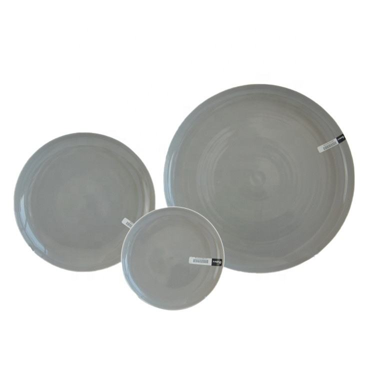 Light grey color round cheap price dinnerware hotel restaurant used porcelain dinner plate