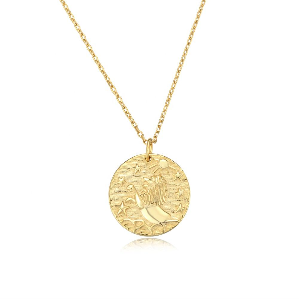 925 Sterling Silver Vintage Jewelry 24K Gold Plated Jewellery Medallion Coin Lion Pendant Necklace