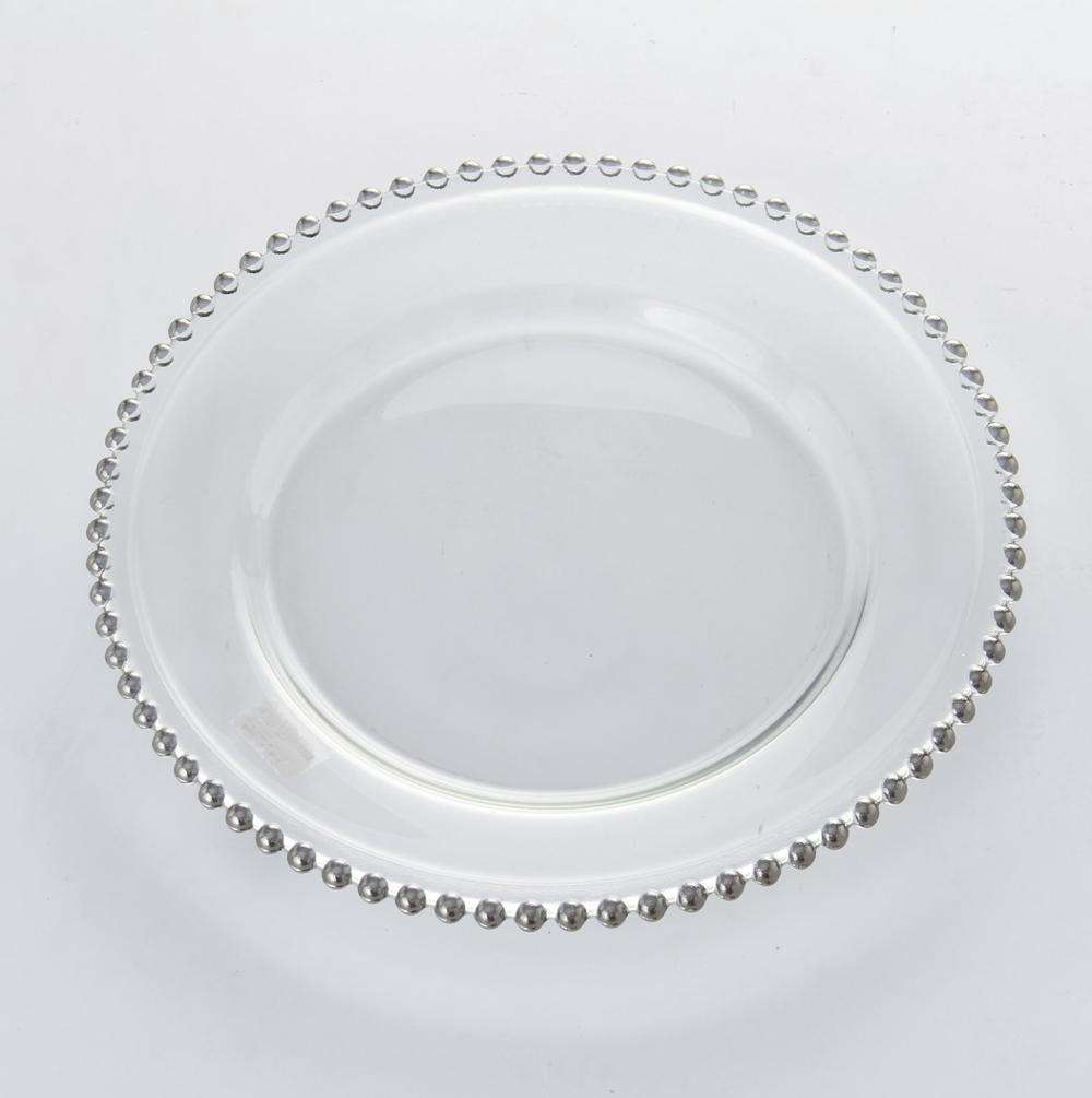 modern hot selling clear glass beaded wedding charger plates