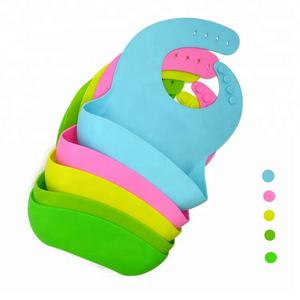 Soft silicone baby bib Food Grade baby silicone bibs manufacturer with pocket