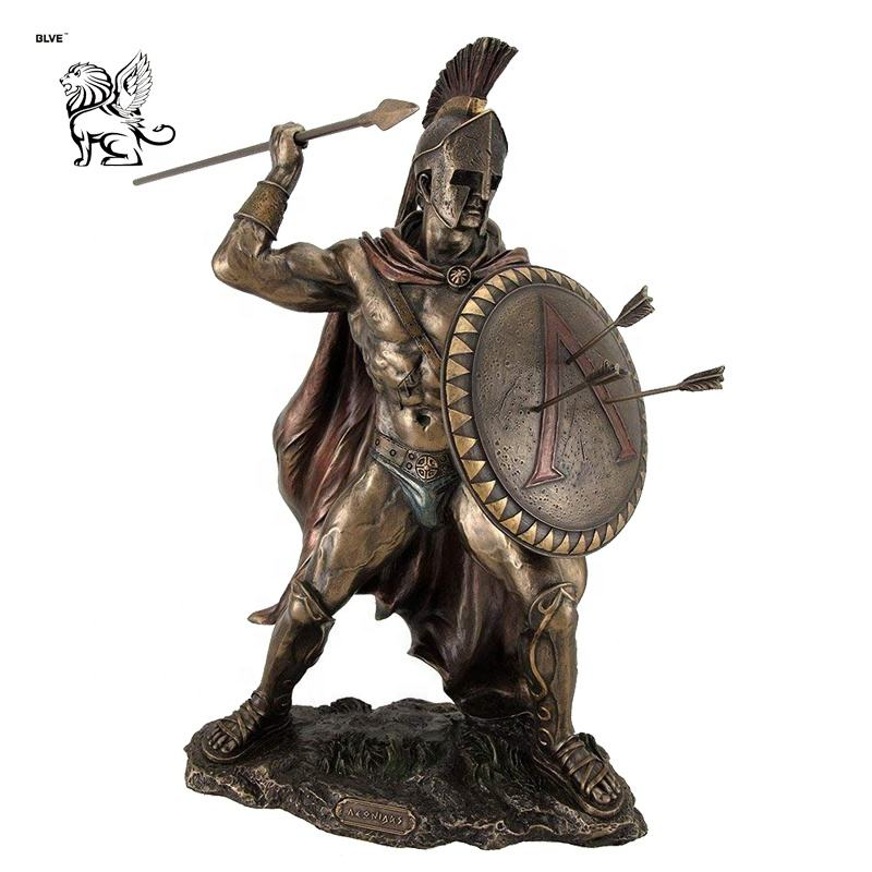 life size modern bronzed spartan warrior sculpture with sword and hoplite shield statue BRL-283