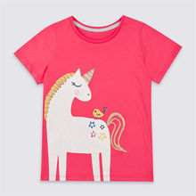 YGT24  Cotton Children T-shirts Colored Tops for Girls Short Sleeve Kids Unicorn Carton Clothing