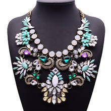 Bohemian Boho Transparent Big Resin Crystal Flower Choker Bubble Bib Chain Statement Necklace for Daily Party Prom Celebration