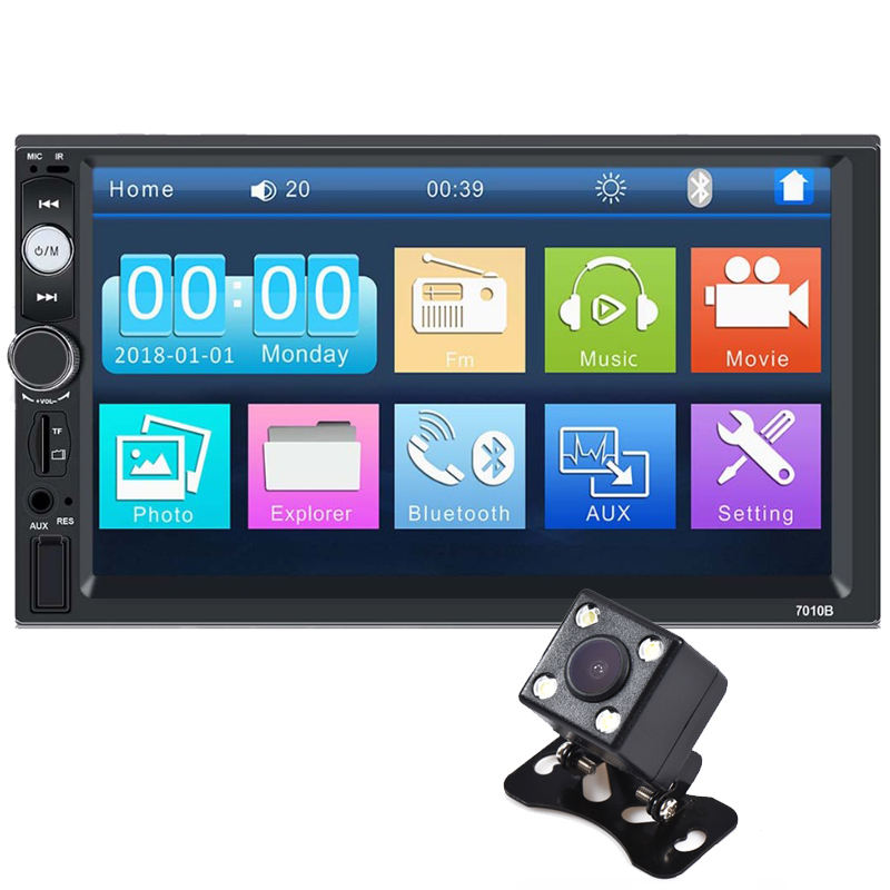 7inch Touch Screen 2 Din Multimedia Dvd Player Stereo Monitor Universal Car Radio With Camera