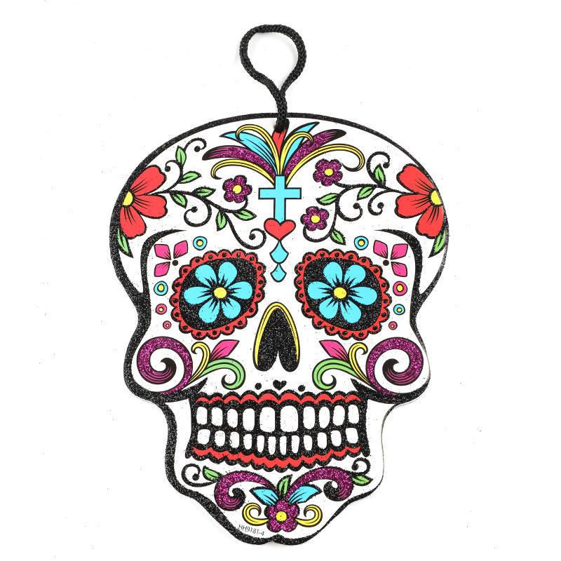 Fábrica de China diseño personalizado ornamento colgante <span class=keywords><strong>cráneo</strong></span> multi <span class=keywords><strong>flor</strong></span> colorido interior <span class=keywords><strong>Halloween</strong></span> decoración colgante