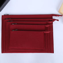 Wholesale b4 b5 b6 a4 a5 letters hand bag minimalist style felt document bag with zipper clock