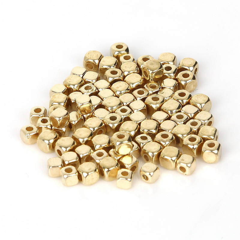 4mm Plated KC Gold CCB Plastic Square Seeds Beads Big Hole Diy Charm Spacer Beads For Jewelry Making