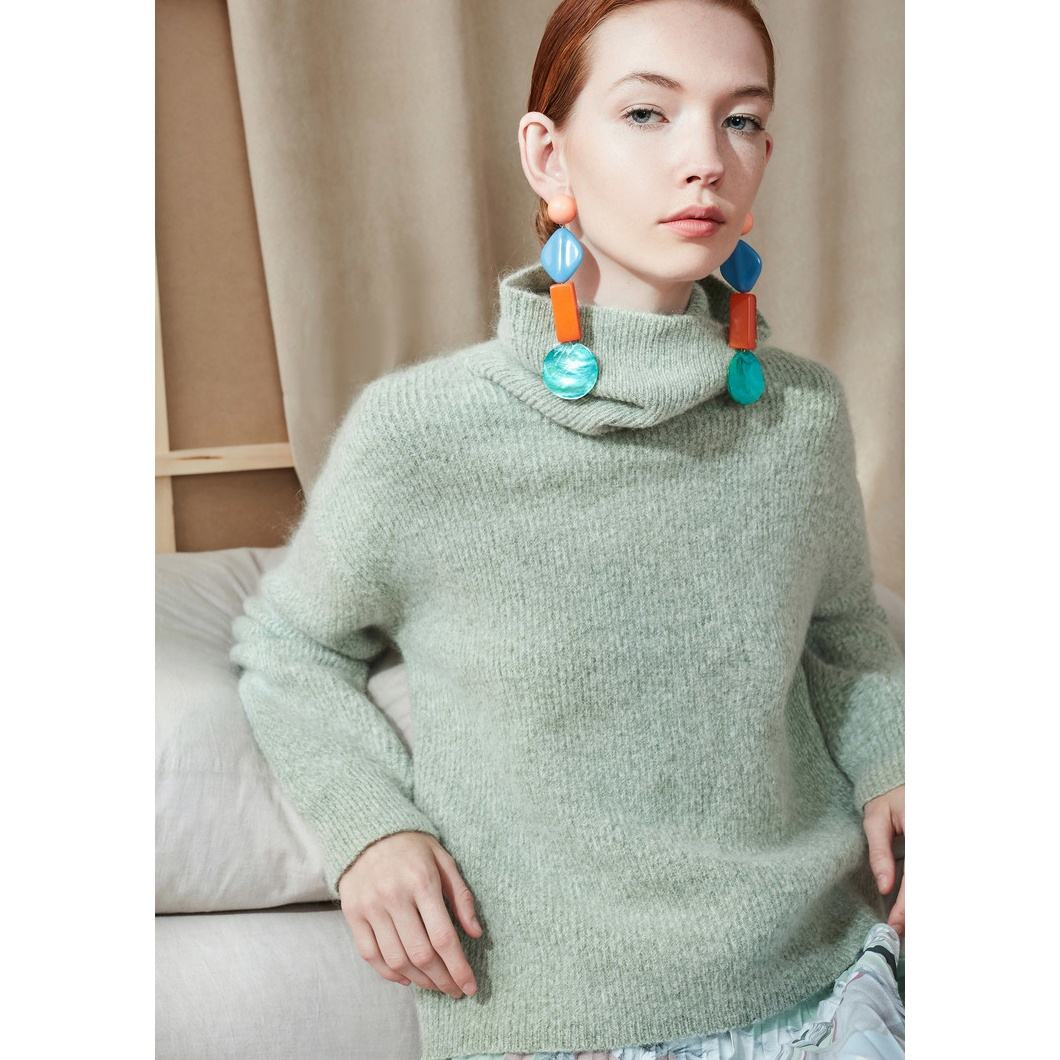 High neck chunky oversize mohair fuzzy pullover mit mohair
