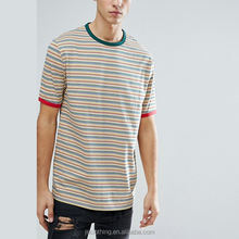 Men Crew Neck Retro Striped tshirt Relaxed Short Sleeve T Shirts