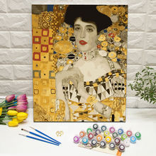 Masterpiece DIY framed decorative painting by numbers on canvas Portrait of Adele Bloch-Bauer by Gustav Klimt