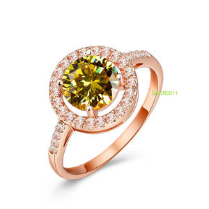 Sevena SADR0011 Wholesale thailand cz pave silver ring jewelry+10k 14k 18k 22k rose gold plated yellow crystal ring