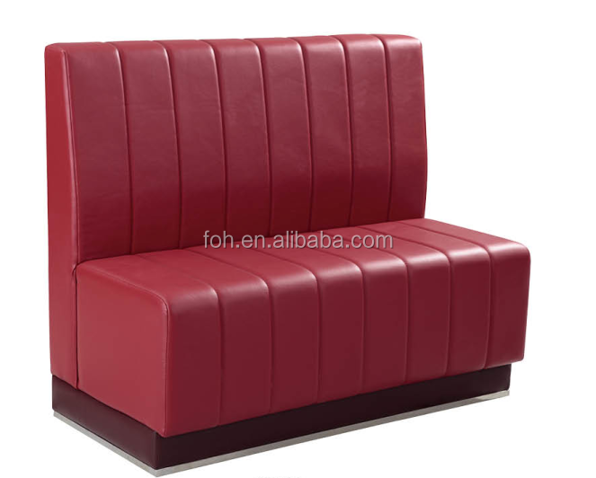 Modieuze rode lederen restaurant meubilair/club bank booth/cafe sofa stand( foh- cbck12)