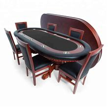 Poker Table for 10 Players with Speed Cloth Playing Surface 93x45-Inch Oval, Includes Matching Dining Top with 6 Dining Chairs