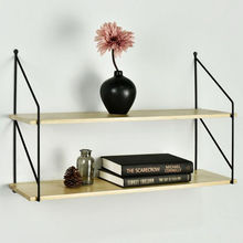 Retro Style Storage Display Shelf Metal Floating Shelves 2 Tier Wall Shelve Decorative
