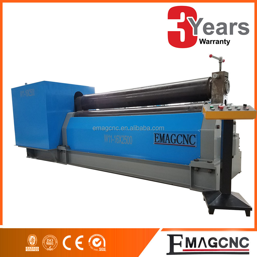 Three rollers 16mm sheet metal symmetric plate conical roll bending machine