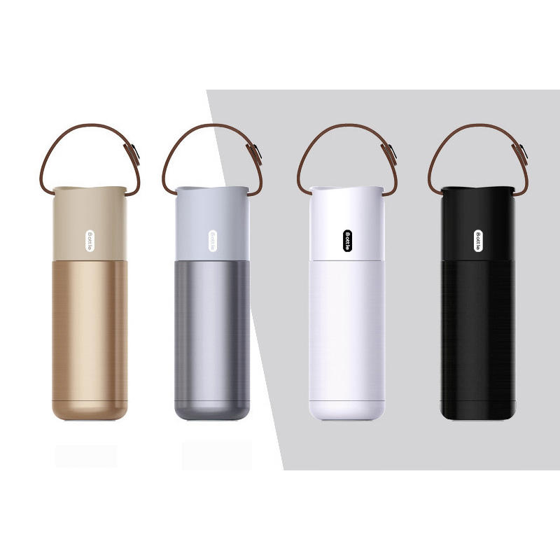 Wholesale new stainless steel vacuum insulated travel coffee mug cup bottle with leather handle