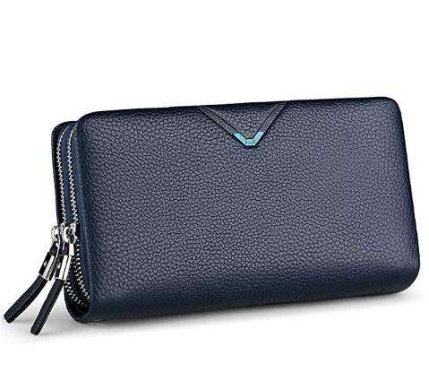 POLO Mens Wallet Genuine Leather Strap Clutch Bag with Double Zipper