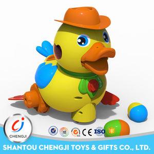 Precioso pato plástico juguetes musicales que ponen huevos