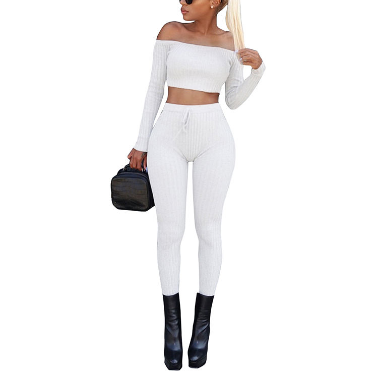 White 2 Piece Set Clothing Off Shoulder Screw Thread Tops And Long Pants Suits For Women