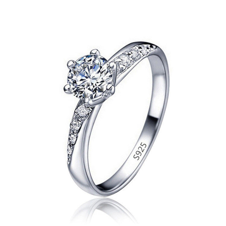 Hot Sell Stunning 925 Sterling Silver Ring Fashion CZ Diamond Forever Love Eternity Ring