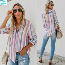HFS1671B Latest Fashion Women's Clothing Colorful Stripes Ladies Blouses
