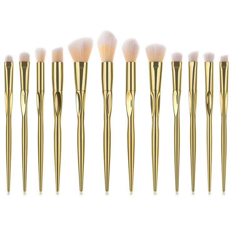 7/8/12pcs hear shape metal shiny silver rose gold makeup brush set