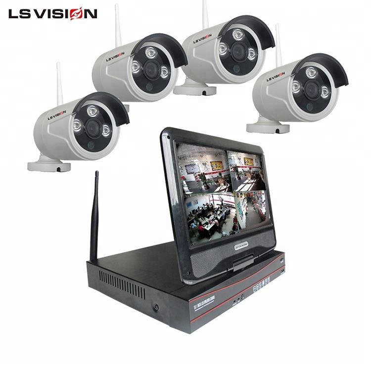 LSVISION 10 Inch LCD Monitor 960P CCTV Surveillance Systems Wireless P2P IP Camera Set 4 Channel NVR Kit
