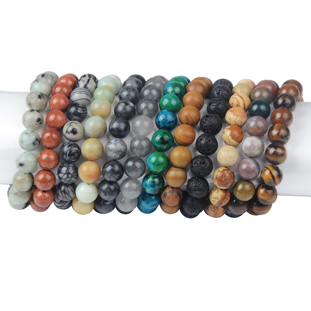 10mm Beads Elastic Tiger Eye Agate Natural Stone Men Bracelet