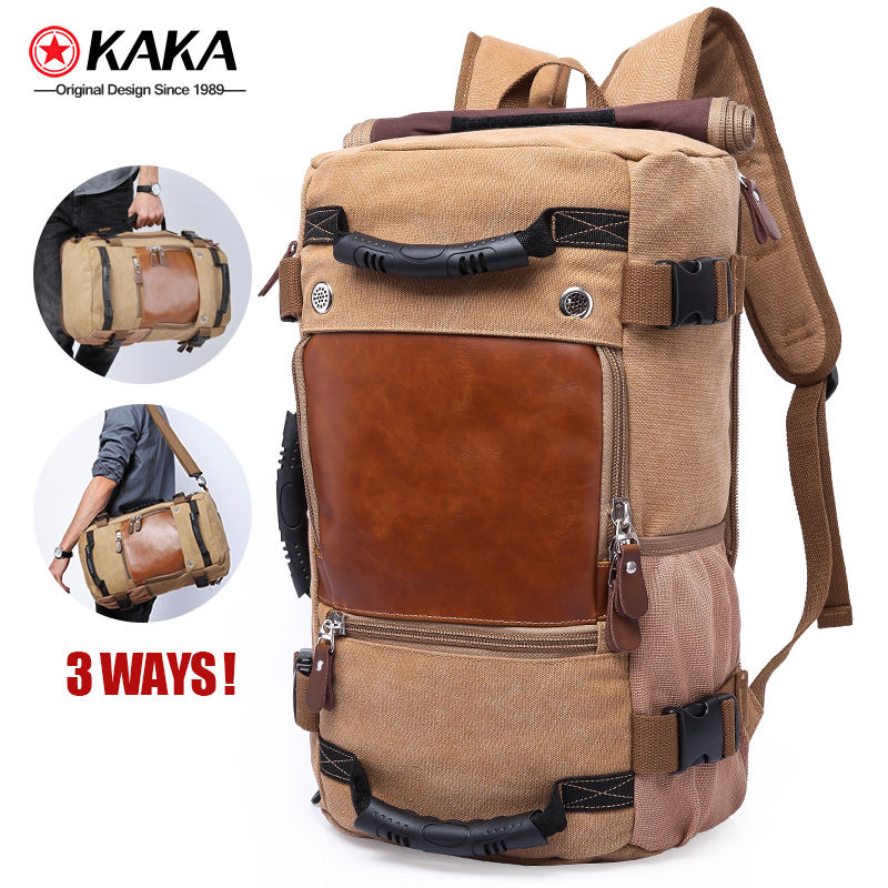 kaka 40L blank canvas backpack For Men 3 way Waterproof Laptop Bag rucksack canvas backpack bag