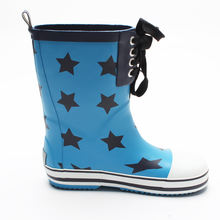 Factory direct sales rubber  boots  star print fashion kids rain boots with shoelace