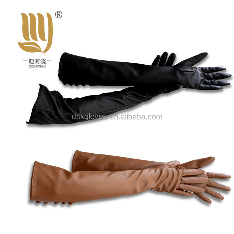 New style Long leather Gloves For Women Opera Gloves Plain Design