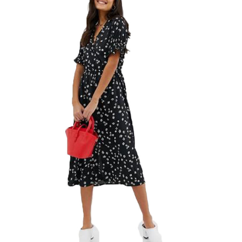 Women Print Deep V-neck Influence shirred sleeve floral midi dress with button down front in black