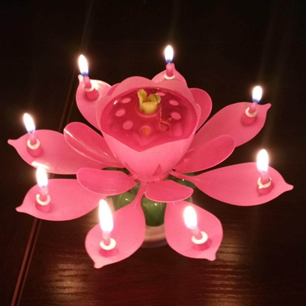 wholesale Flame retardant material cheap magic colorful rotating lotus music birthday candle