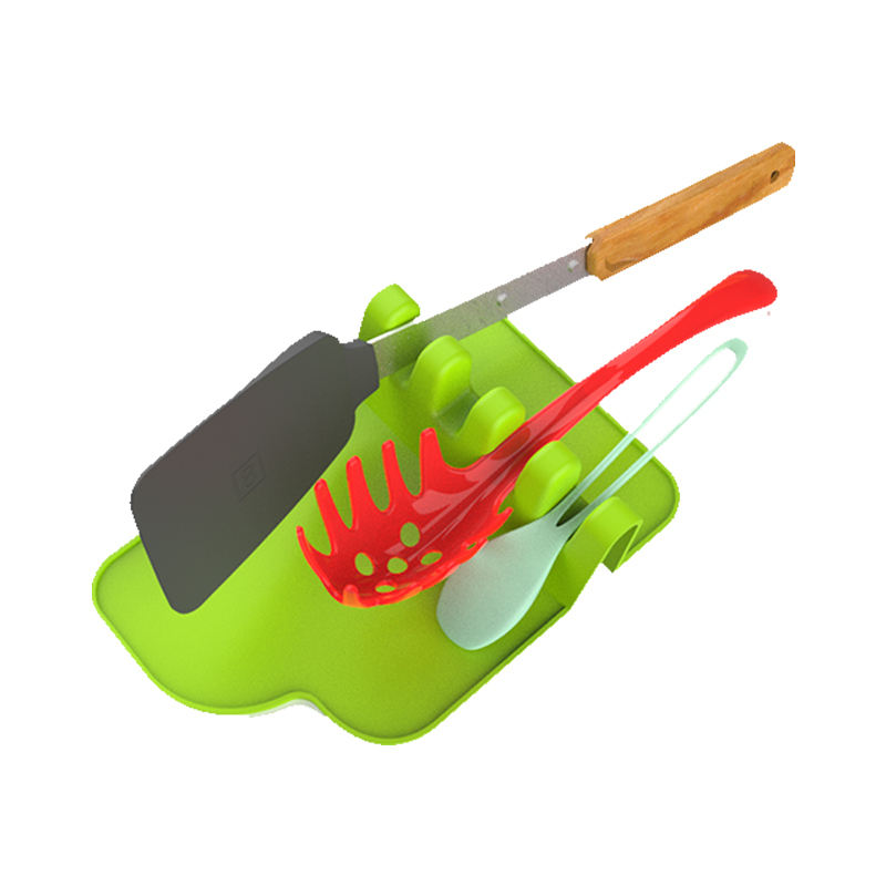 Food Grade kitchen silicone utensil rest silicone heat resistant ladle fork mat giant spoon, rest ladle spoon holder
