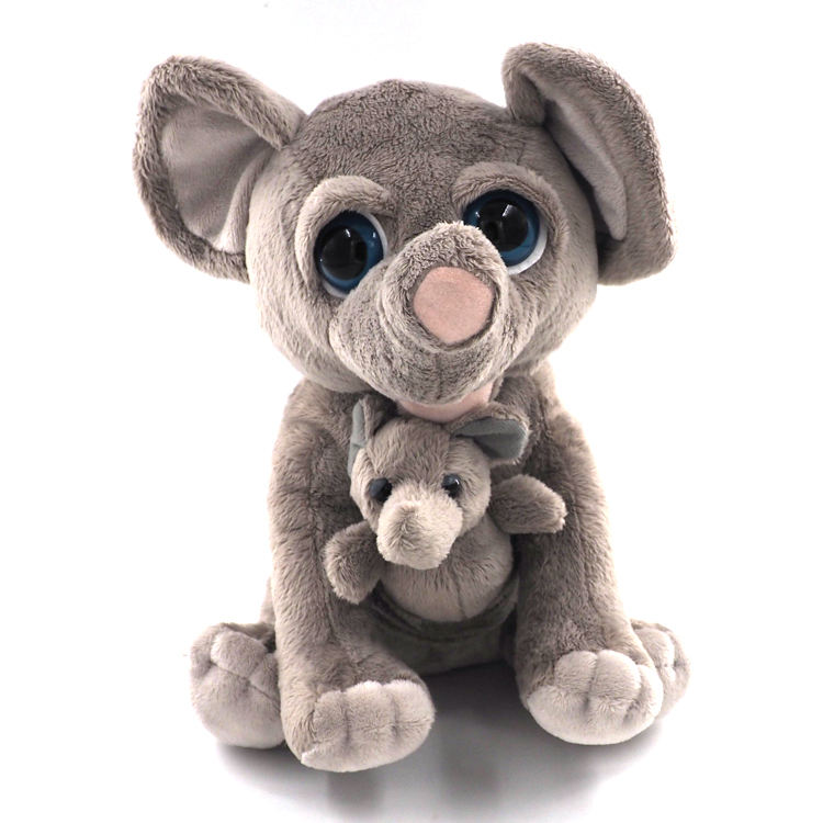 Cute big glass eye & ear mother & child elephant pluh toys