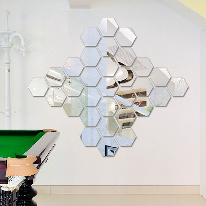 Decorative self-adhesive 3d hexagon acrylic bathroom mirror wall stickers
