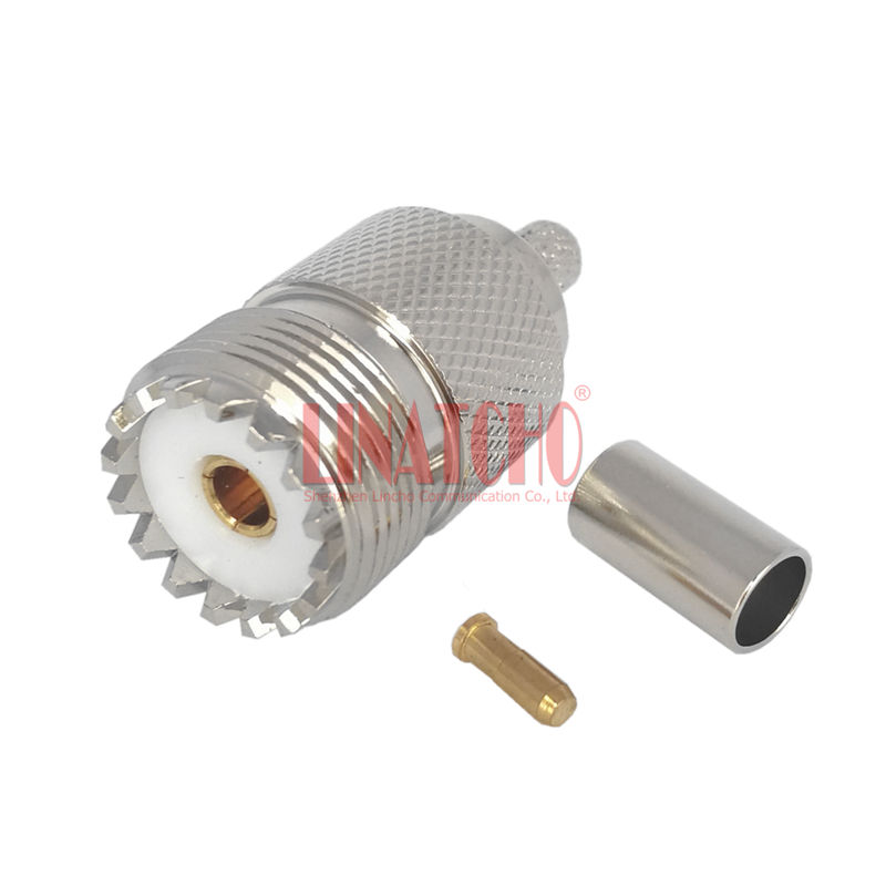 Crimping nickel plated rg142 rg141 lmr195 rg58 cable so239 uhf female connector