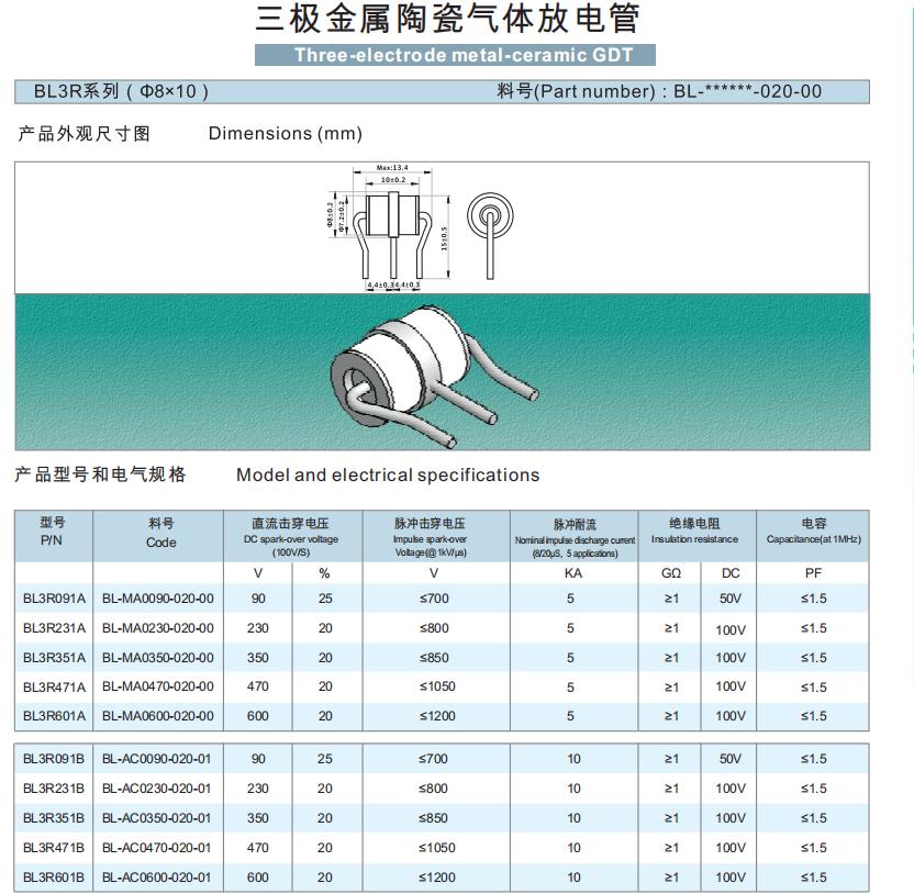 Gas Plasma Arrestors 184-276V 5A GDT T//R MiniBeta 2 Term GDTs Gas Discharge Tubes