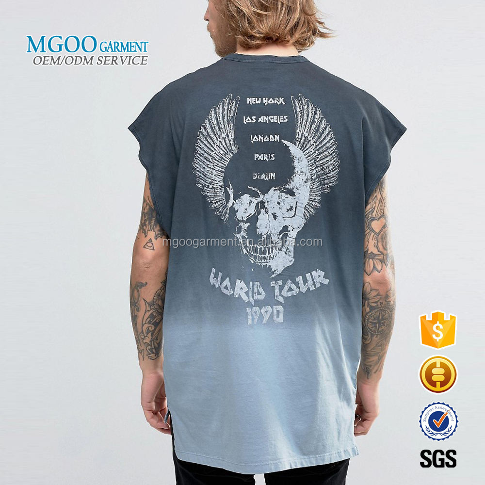 MGOO Garment High Quality Plus Size Tie Dye T-shirt Cap Sleeves Longline Clothes Hip Hop Man Tops Tee