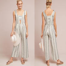 Woman Summer Clothes Ladies Sexy Sleeveless Deep V neck Striped Cotton Linen Jumpsuit