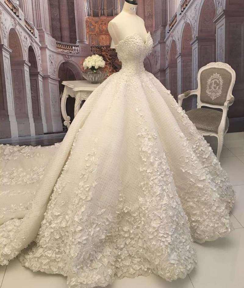 Appliques Ball Gown Russian Wedding Dress Sleeveless White Wedding Gown REAL PHOTO PICTURE FACTORY FANWEIMEI