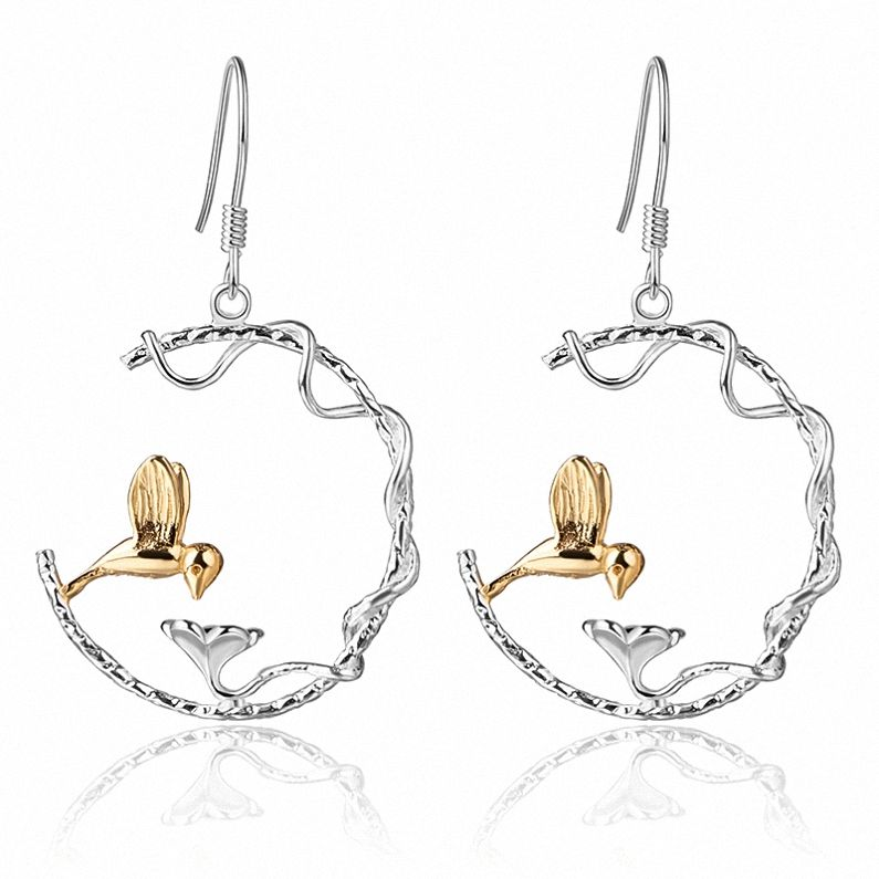 18k Gold Pated 925 Sterling Siver Bird Designer Earrings For Girlfriend