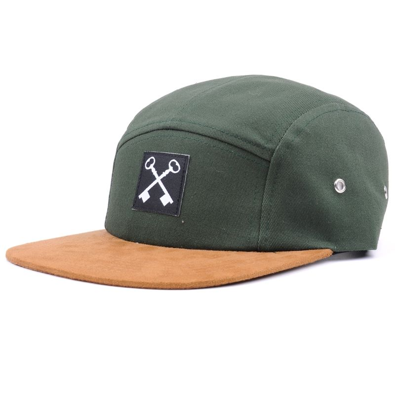 OEM/ODM design you own logo suede flat bill 5 panel hats,army green 5 panel camp cap
