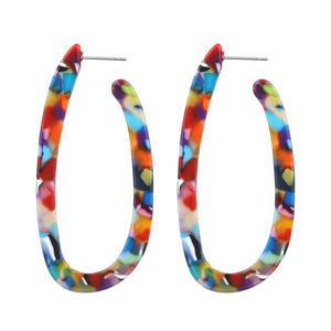 Fashion exaggerated trend earrings acetate plate U shape leopard print earrings girls