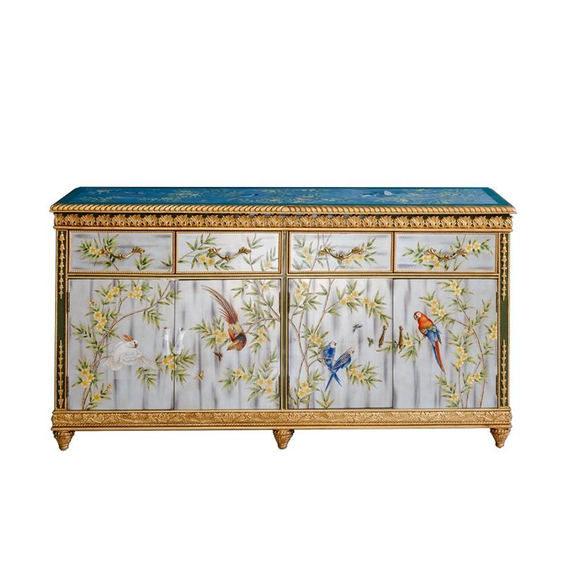 China supplier unique design antique table with good price painted carved sideboards for home hot sales vintage furniture