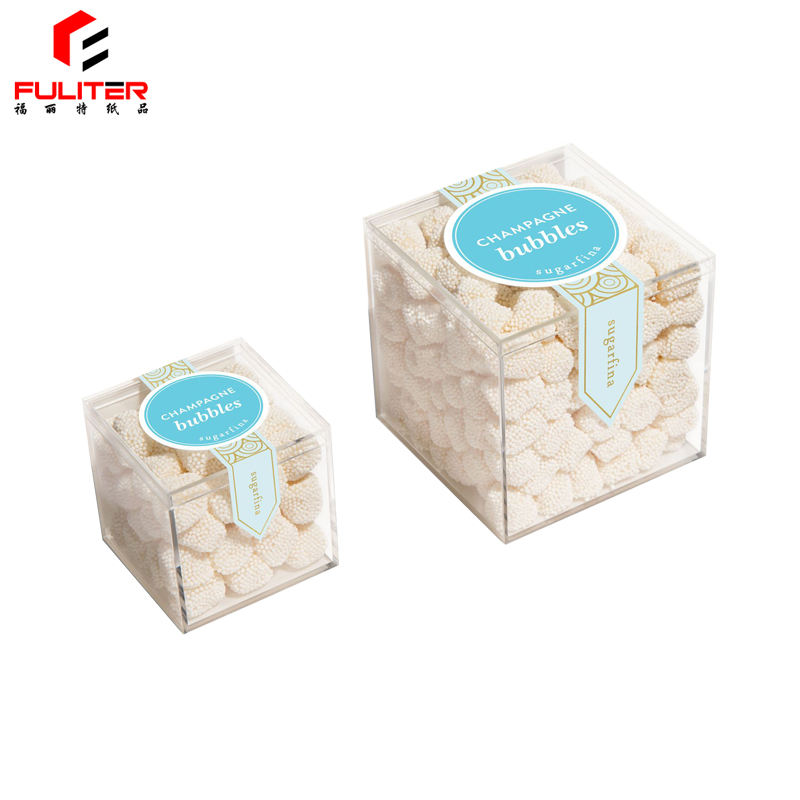Food Grade Exquisite Clear Mini Acrylic Candy Cube Box Safe For Baby
