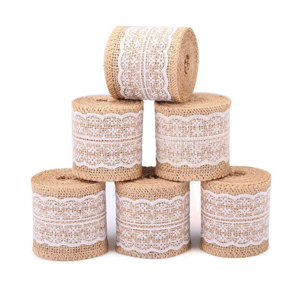 Groups Natural Burlap Ribbon White Lace Trim Fabric Roll 6 PCS Burlap Roll Rustic Wedding Decorations 13.5inches